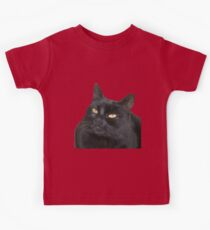Relaxed Black Cat Portrait Vector Isolated Kids Tee