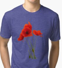 Delicate Red Poppies Vector Tri-blend T-Shirt