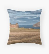 Tantallon Castle and Bass Rock Throw Pillow