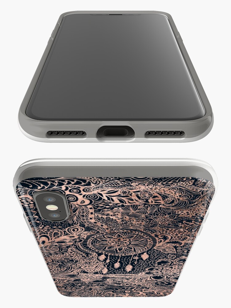 Alternate view of Modern rose gold blue dreamcatcher floral pattern  iPhone Case & Cover