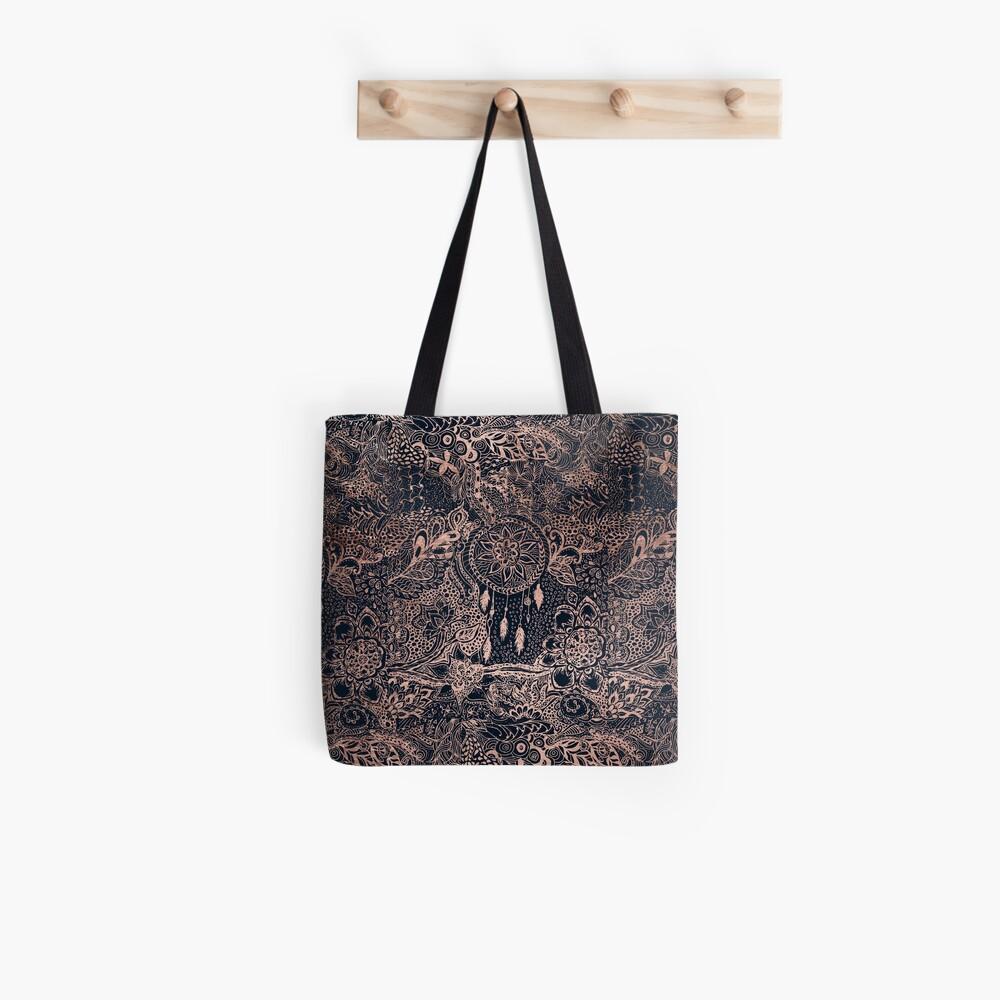 Modern rose gold blue dreamcatcher floral pattern  Tote Bag