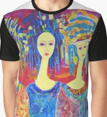 Women Girls Ladies Decorative Colorful Pink painting Graphic T-Shirt