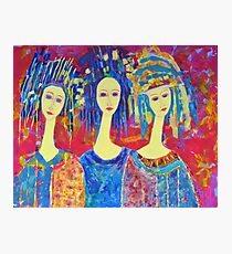 Women Girls Ladies Decorative Colorful Pink painting Photographic Print