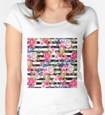 Cute spring floral and stripes watercolor pattern Women's Fitted Scoop T-Shirt