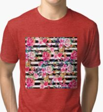 Cute spring floral and stripes watercolor pattern Tri-blend T-Shirt