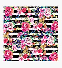 Cute spring floral and stripes watercolor pattern Photographic Print