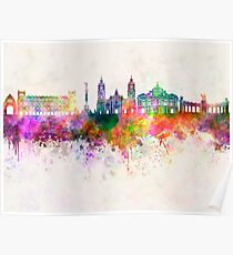 Mexico City V2 skyline in watercolor background Poster