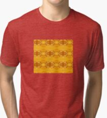Golden Hibiscus Abstract Pattern Tri-blend T-Shirt