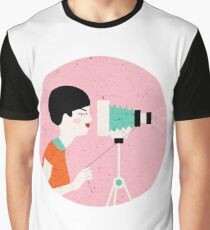 say cheese! retro style woman behind vintage camera Graphic T-Shirt