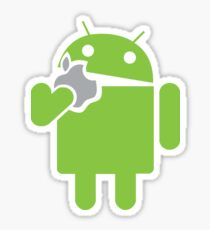 Android eats an Apple Sticker
