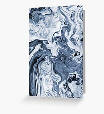 Isao - spilled ink art print marble blue indigo india ink original waves ocean watercolor painting Greeting Card