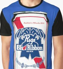 Pug Blue Ribbon Graphic T-Shirt