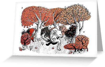 Little Red Riding Hood Print with wolf, forest by Charlie Pringle