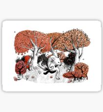 Little Red Riding Hood Print with wolf, forest Sticker