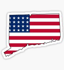 American flag Connecticut outline Sticker
