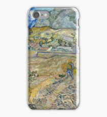 Vincent Van Gogh - Landscape at Saint-Rémy, Enclosed Field with Peasant 1889 iPhone Case/Skin