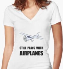 Plays With Airplanes Women's Fitted V-Neck T-Shirt