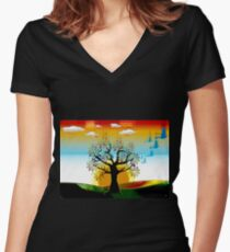 4 SEASONS AUTUMN Women's Fitted V-Neck T-Shirt