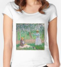 Claude Monet - In the Woods at Giverny Blanche Hoschedé at Her Easel with Suzanne Hoschedé Reading , Impressionism Women's Fitted Scoop T-Shirt
