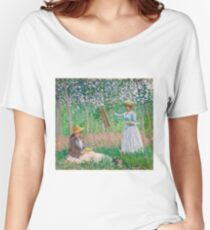 Claude Monet - In the Woods at Giverny Blanche Hoschedé at Her Easel with Suzanne Hoschedé Reading , Impressionism Women's Relaxed Fit T-Shirt