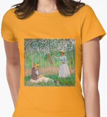 Claude Monet - In the Woods at Giverny Blanche Hoschedé at Her Easel with Suzanne Hoschedé Reading , Impressionism Womens Fitted T-Shirt