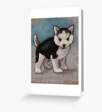Cute Husky Puppy, Blue Eyes, Oil Pastel Painting Greeting Card