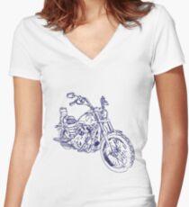 Whitelining Motorbike Women's Fitted V-Neck T-Shirt