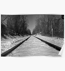 Black and White Train Tracks Poster