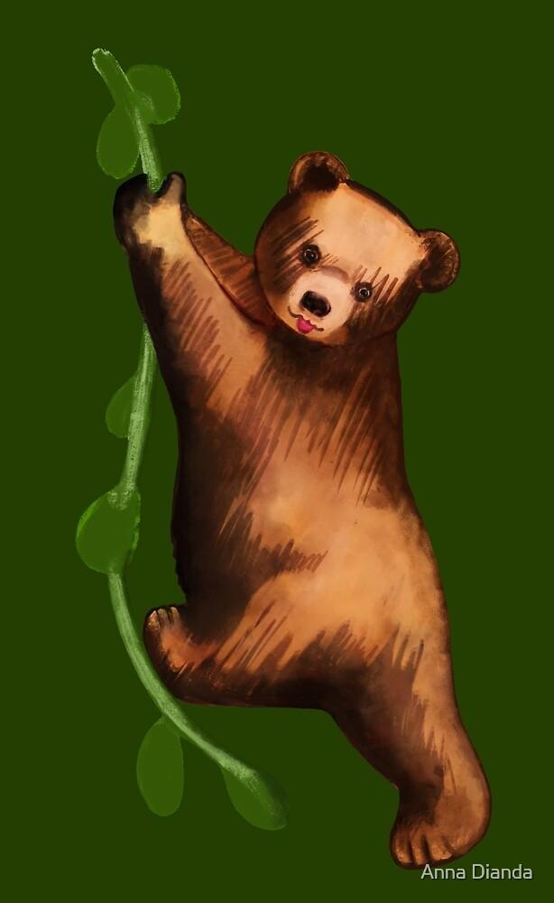 Bear fun, little bear swings on a liana by Anna Dianda
