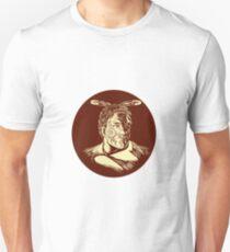 Maori Chieftain Head Oval Woodcut Unisex T-Shirt