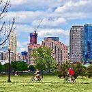 Couple Cycling in Liberty State Park by Susan Savad