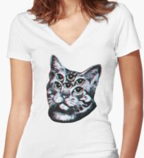 Psychedelic Cat (3D vintage effect) Women's Fitted V-Neck T-Shirt