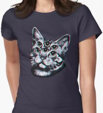 Psychedelic Cat (3D vintage effect) Women's Fitted T-Shirt
