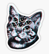 Psychedelische Katze (3D-Vintage-Effekt) Sticker