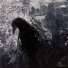 Original Gothic Crow Raven Painting  by Gray Artus