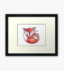 Fox Love Watercolor Framed Print