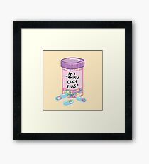 Crazy Pills Zoolander sprinkles weird pills tumblr meme print Framed Print