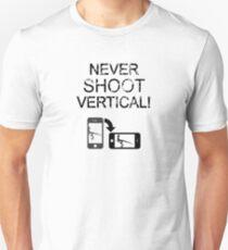 Never Shoot Vertical (Black) T-Shirt