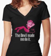 Der Teufel hat mich dazu gebracht Shirt mit V-Ausschnitt