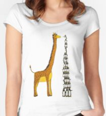 Who is Taller Unicorn Giraffe or Penguin? Women's Fitted Scoop T-Shirt
