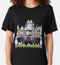 Is This Small World Actually Stretching? (for Darker Rides) Slim Fit T-Shirt
