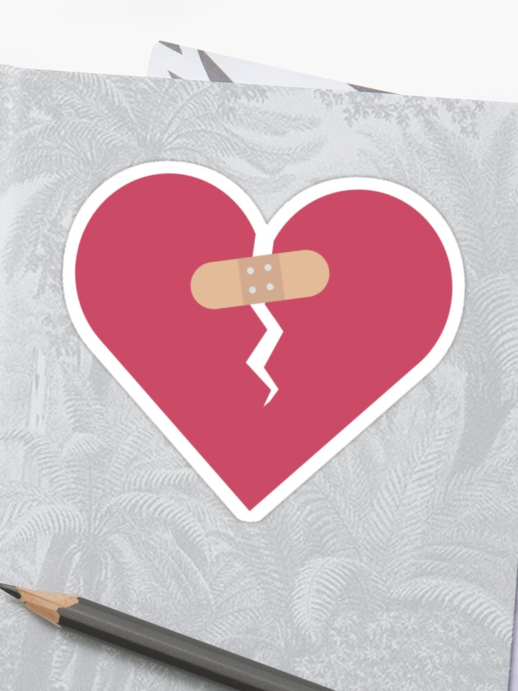 broken heart healed by patch | Sticker