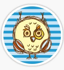 Funny owl blue and brown Sticker