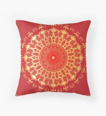 Indian gold mandala on a red background. Throw Pillow