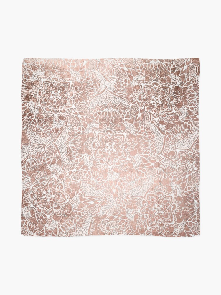 Alternate view of Modern faux rose gold floral mandala hand drawn Scarf