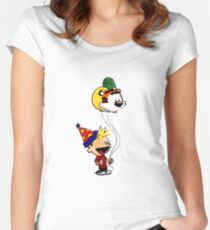 Calvin and Hobbes Party Women's Fitted Scoop T-Shirt