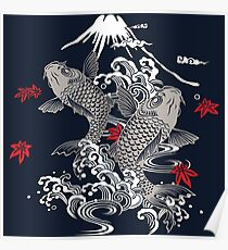 Japanese Koi Graphic Design Poster