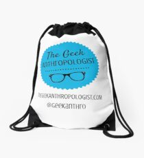 The Geek Anthropologist Logo and Contact Infos Drawstring Bag