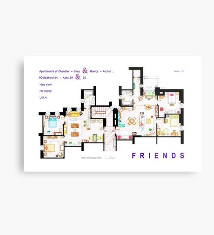 FRIENDS Apartment's Floorplans - V.2 Metal Print