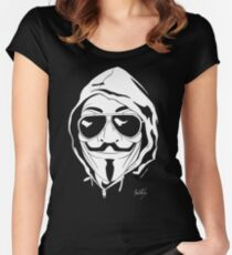 Vendetta Shades Logo Black-T Women's Fitted Scoop T-Shirt